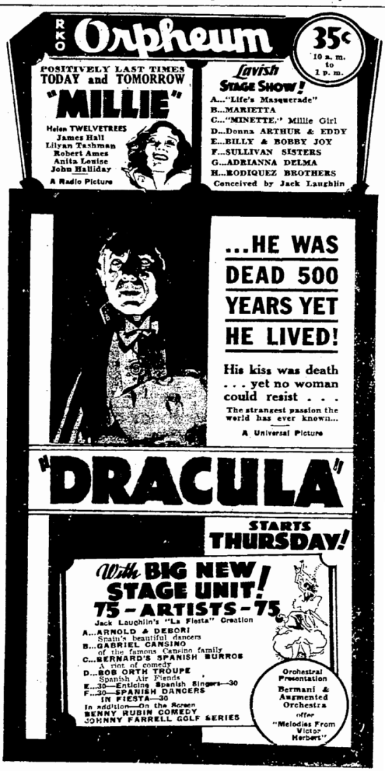 Dracula, San Francisco Chronicle, March 24, 1931 2