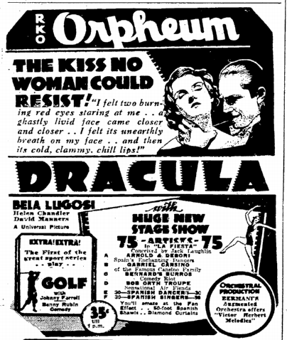 Dracula, San Francisco Chronicle, March 27, 1931