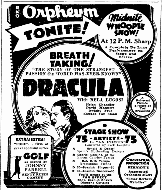 Dracula, San Francisco Chronicle, March 28, 1931