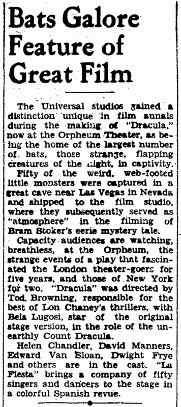 Dracula, San Francisco Chronicle, March 30, 1931