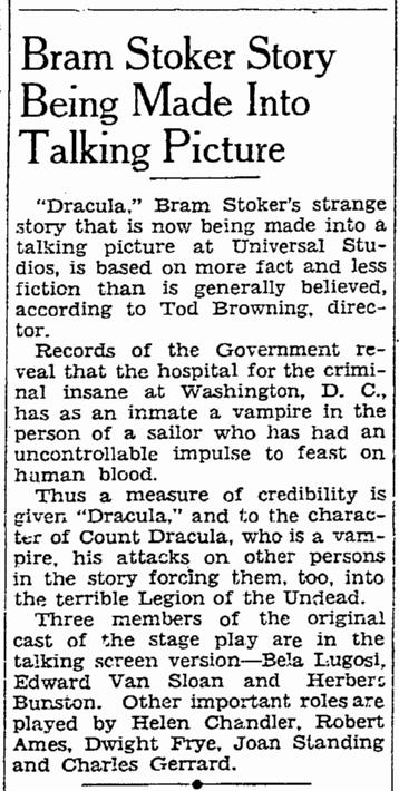 Dracula, San Francisco Chronicle, November 9, 1930 2