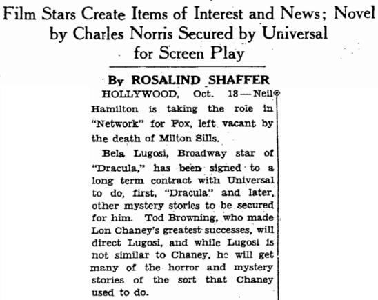 Dracula, San Francisco Chronicle, October 19, 1930