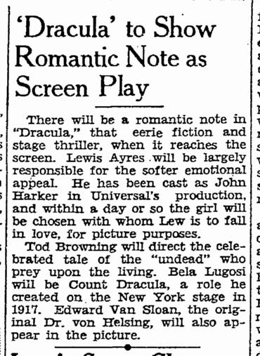 Dracula, San Francisco Chronicle, October 5, 1930