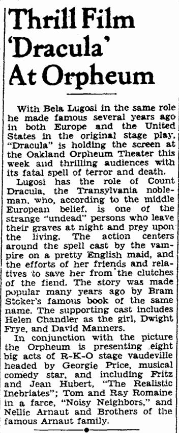 Dracula, San Francisco Chronicle, Sunday, April 5, 1931