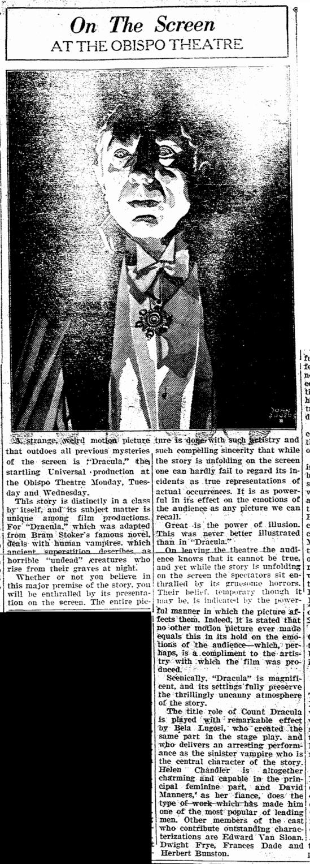 Dracula, San Luis Obispo Daily Telegram, April 20, 1931