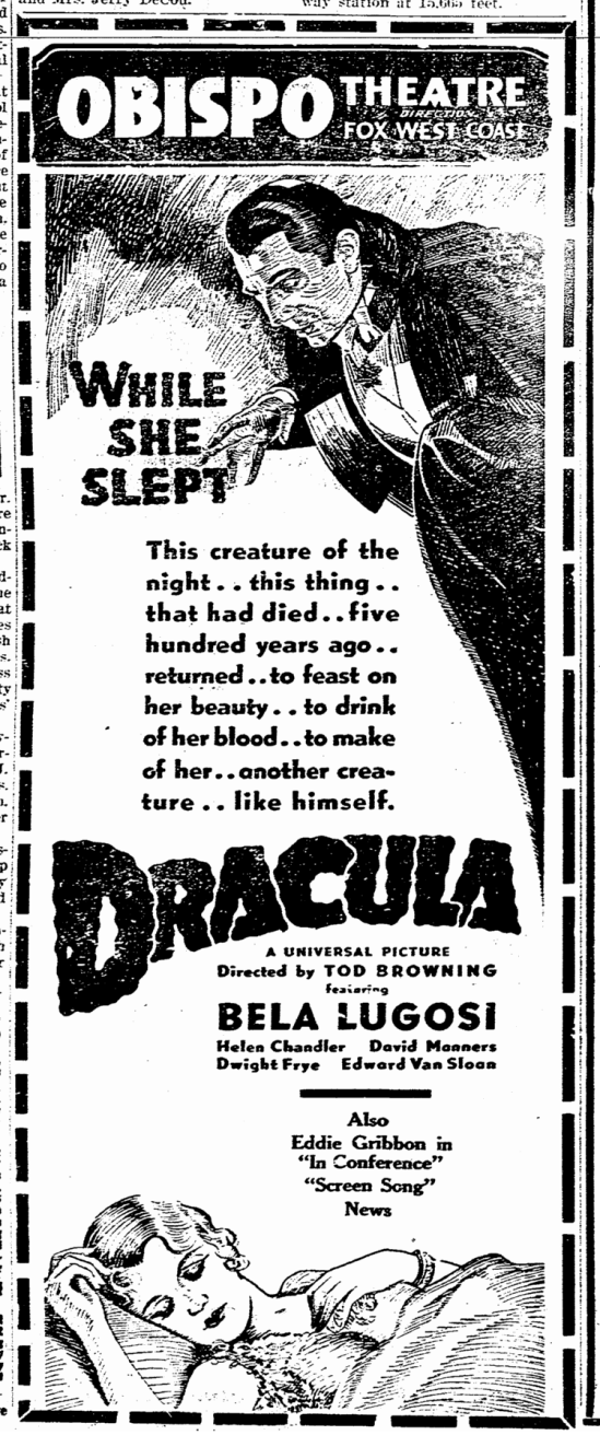 Dracula, San Luis Obispo Daily Telegram, April 21, 1931 2