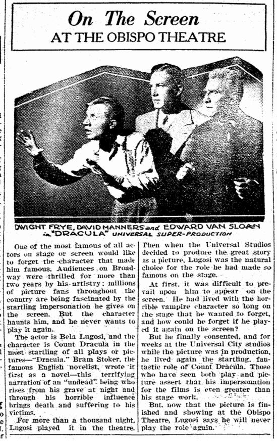 Dracula, San Luis Obispo Daily Telegram, April 21, 1931