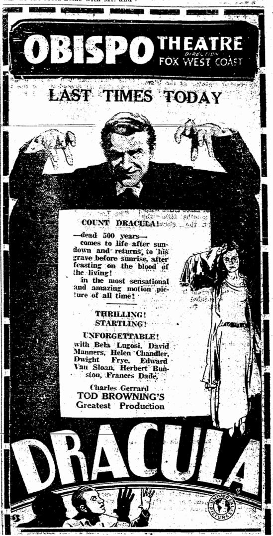 Dracula, San Luis Obispo Daily Telegram, April 22, 1931 2