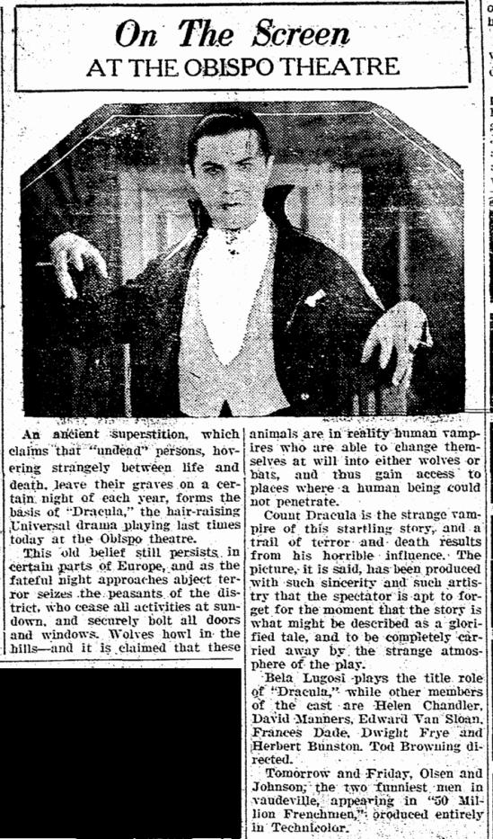 Dracula, San Luis Obispo Daily Telegram, April 22, 1931