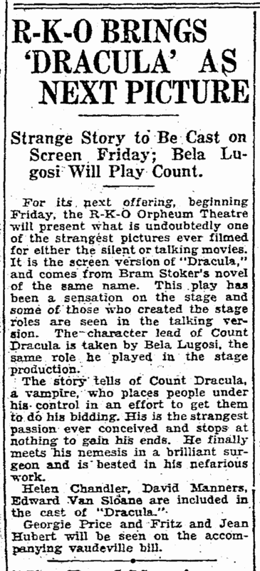 Dracula, Seattle Daily Times, February 24, 1931