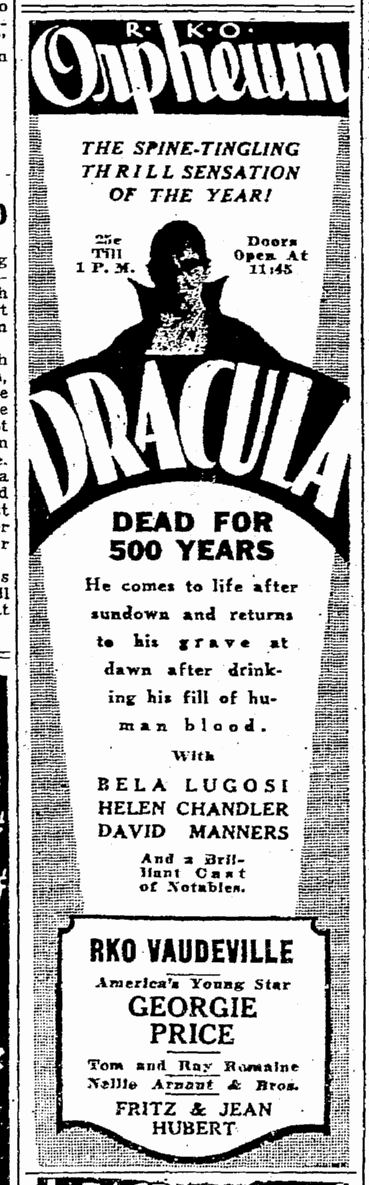 Dracula, Seattle Daily Times, February 28, 1931