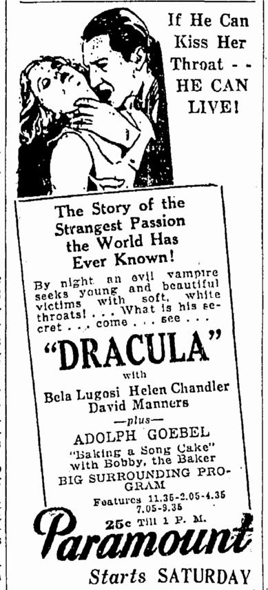 Dracula, Springfield Republican, March 2, 1931