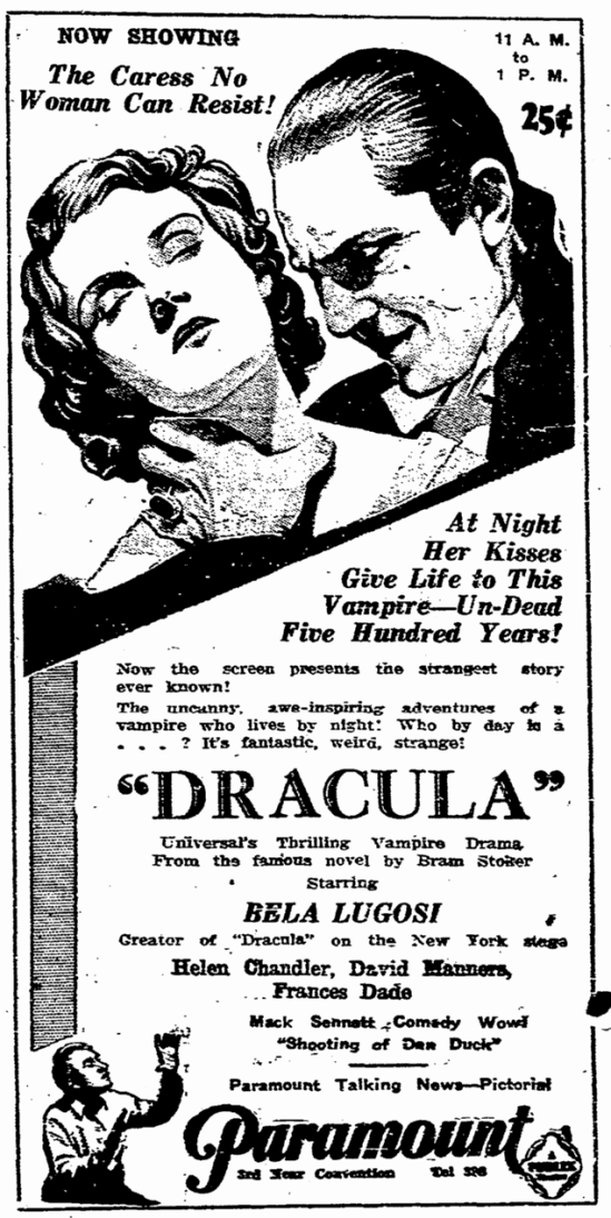 Dracula, State Times Advocate, March 10, 1931 2
