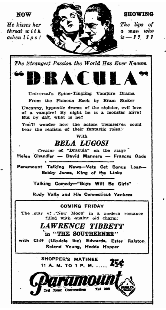 Dracula, State Times Advocate, March 11, 1931