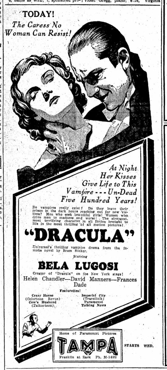 Dracula, Tampa Tribune, March 1, 1931