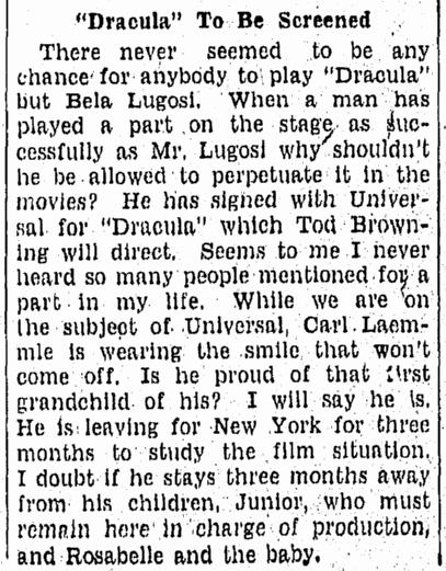 Dracula, Tampa Tribune, September 18, 1930