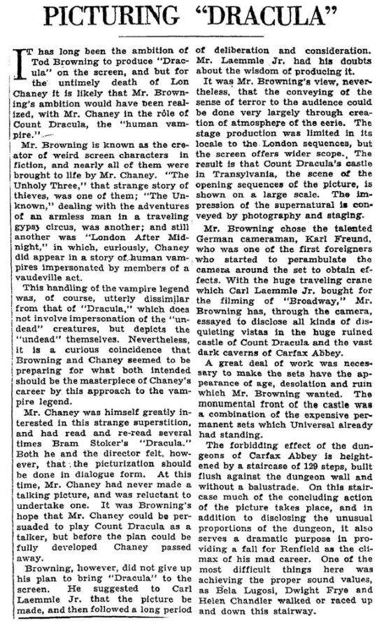Dracula, The New York Times,, Feb 15 1931