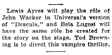 Dracula, The New York Times, Sep 28th 1930