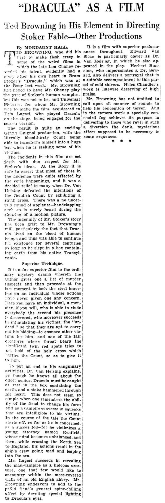 Dracula, The New York Times,February 22 1931