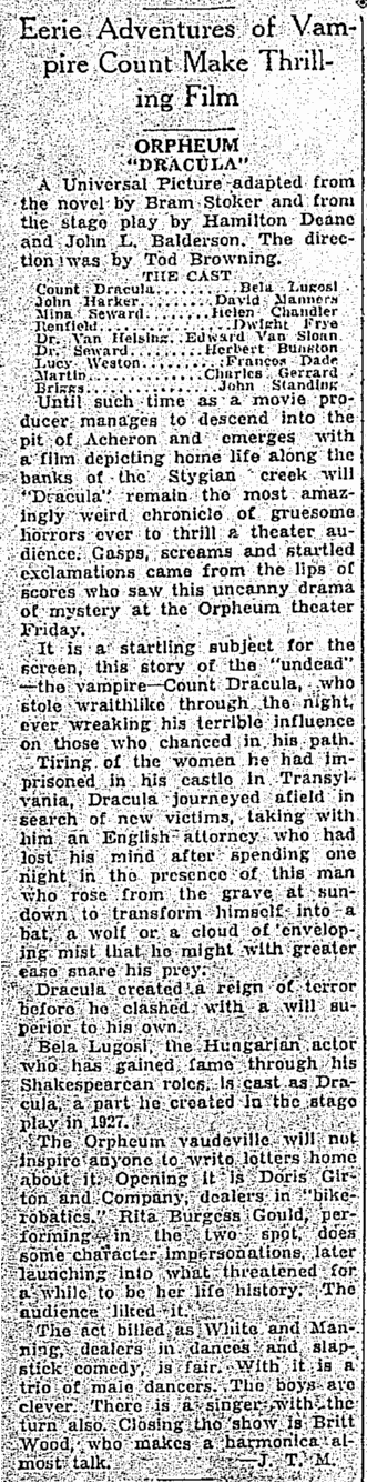 Dracula, The Times-Picayune, April 11, 1931