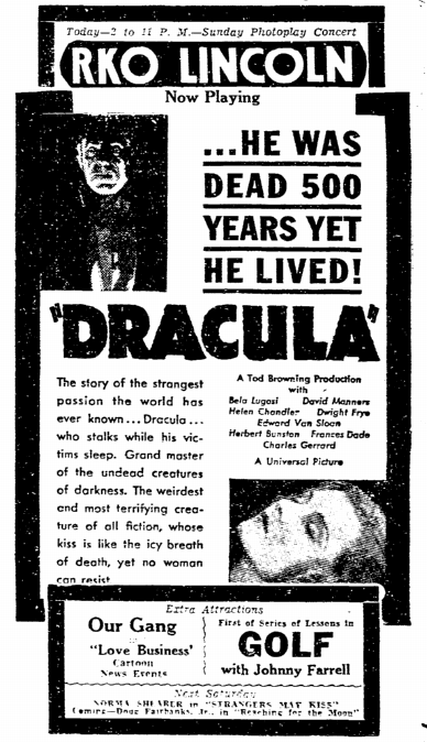 Dracula, Trenton Evening Times, March 29, 1931