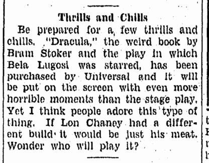 Dracula,Tampa Tribune, February 28, 1931