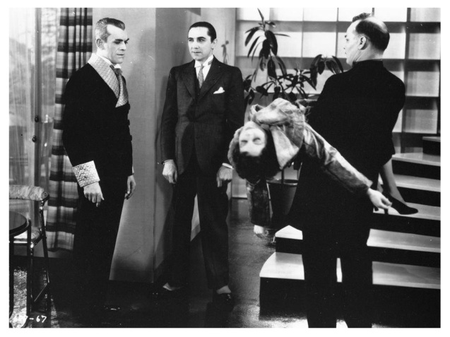 The Black Cat, Boris Karloff, Bela Lugosi, Jacqueline Wells and Harry Cording