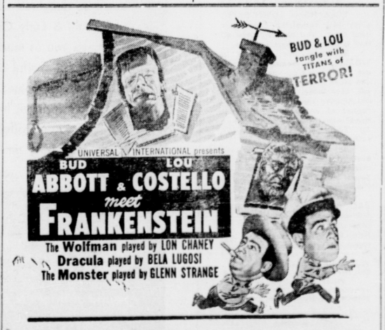 Abbott and Costeello Meet Frankenstein, The Cameron Herald and Centinel, November 4, 1948 2
