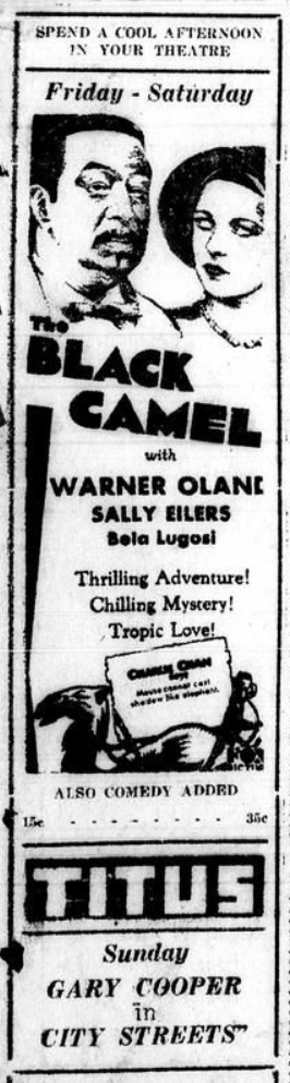 Black Camel, Mt. Pleasant Daily Times (Mount Pleasant, Tex.), Friday, July 3, 1931