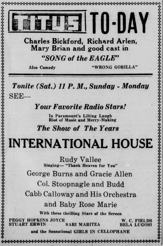 International House, Mt. Pleasant Daily Times, July 15, 1933