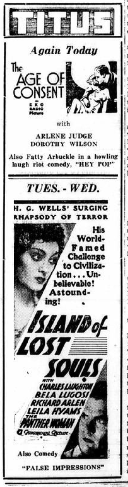 Island of Lost SoulsMt. Pleasant Daily Times, February 13, 1933