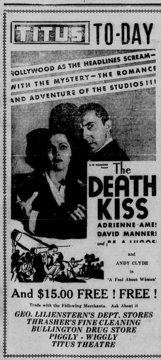 The Death Kiss, Mt. Pleasant Daily Times, July 6, 1933