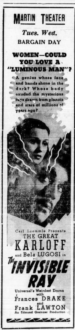 The Invisible Ray, Mt. Pleasant Daily Times, February 25, 1936 1