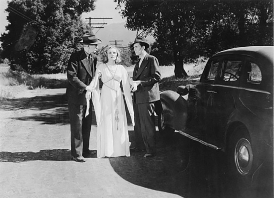 Henry Hall (as the sheriff), Louise Currie (as Stella Saunders) and Dan White (as Deputy Elmer) in Placerita Canyon, in a scene from the Bela Lugosi picture, Voodoo Man Monogram, 194