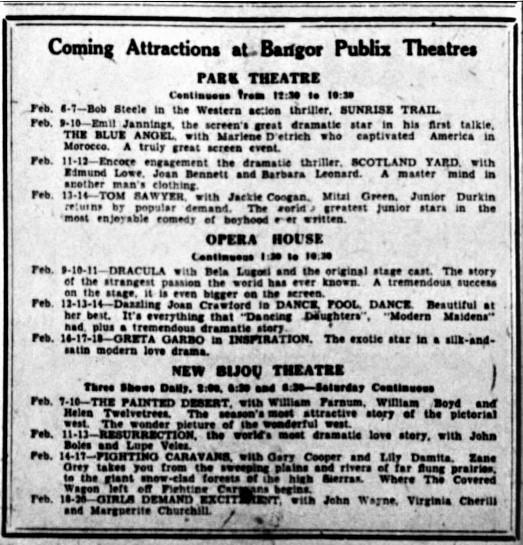 Dracula, The Bangor Daily News (Bangor, Maine), February 5, 1931